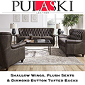 Pulaski Leather; Tradition & Comfort Classic Combination Featuring ShallowWings & ButtonTufted Backs