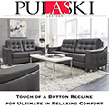 Pulaski Leather Modern Touches Abound Featuring Sloping Track Arms & Tufted Backs and Sides