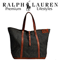 Ralph Lauren Leather-Trim Denim Tote