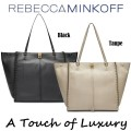 Rebecca Minkoff Pebble Leather Studded Darren Tote - Available In Black & Taupe