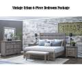 Vintage Urban 6-PC Bedroom Pkg; Choice of Nighstands & FREE Bench in Distressed Gray Finish