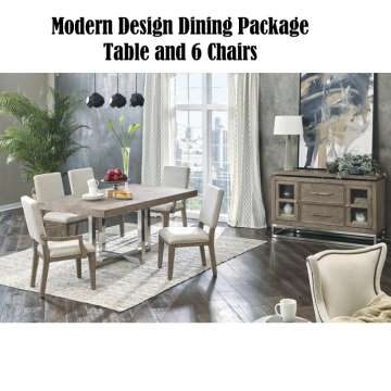 Conventional Sleek Modern Design Dining Package with 6 Chairs & Polished Chrome Finish
