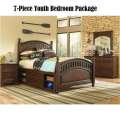 Expedition 7-PC Youth Bedroom Package Featuring Underbed Storage in a Rich Cherry Finish