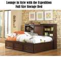 Lounge in Style; Expedition Full Size Storage Lounge Bed in Rich Cherry Finish w/Nickel Accents
