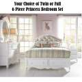 Your Choice of Twin or Full 6-Piece Princess Youth Bedroom Set White Victorian Finish