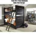 Industrial Flair Design with Slatted Panels;Twin/Twin Graphite Bunkbeds w/Underbed Trundle/Storage