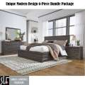 Unique Modern Design 6-PC Bundle Pkg in Burnished Brown Finish Featuring Optional Footboard Storage