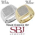 Men's 14K Gold Diamond Ring - Choice of White or Yellow Gold