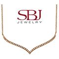 "Women's 14K Gold Diamond Necklace on 16"" Length Chain in Rose Gold"