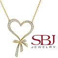 Women's 14K Yellow Gold White Round Diamond Heart Necklace on 18