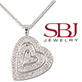 """Women's 14K White Gold White Round Diamond Heart Pendant Necklace with 16"""" Length Chain"""