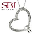"Women's 14K White Gold White Round Diamond Heart Necklace on 16"" Length Chain"