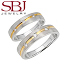 Fine Jewelry - Women�s & Men�s Matching 14K Two-Tone Gold Bands With Three Diamonds