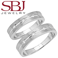 Fine Jewelry - Women�s & Men�s Matching 14K White Gold Bands With Three Diamonds