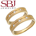 Fine Jewelry - Women's & Men's Matching 14K Yellow Gold Bands With Three Diamonds