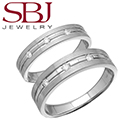 Fine Jewelry - Women's & Men's Matching 14K White Gold Bands With Three Diamonds