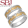 Fine Jewelry - Women's & Men's 14K Two Tone Gold Wedding Bands With Scattered Diamonds