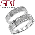 Fine Jewelry - Women's & Men's Matching 14K White Gold Wedding Bands With Five Diamonds