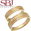 Fine Jewelry - Women's & Men's Matching 14K Yellow Gold Wedding Bands With Five Diamonds