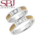 Fine Jewelry - Women's & Men's 14K Two-Tone Gold Bands With Braided Insert & Diamonds