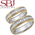 Fine Jewelry - Women's & Men's 14K Two-Tone Gold Bands With Alternating Diamond Shapes