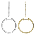 Fine Jewelry - Womens 14K Gold Diamond Medium Round Hoop Earrings In Your Choice Of 2 Colors