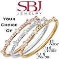 Women's 14K Gold Diamond 5 Station Stackable Ring - Choice of Rose, White or Yellow Gold