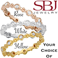 Women's 14K Gold Diamond Eternity Stackable Ring - Choice of Rose, White or Yellow Gold