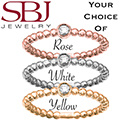 Women's 14K Gold Single Diamond Beaded Stackable Ring - Choice of Rose, White or Yellow Gold