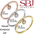 Women's 14K Gold Diamond Hanging Charm Stackable Ring - Choice of Rose, White or Yellow Gold