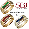 Men's 14K Yellow Gold Gemstone And Diamond Ring - Choice of Emerald, Ruby or Sapphire Gemstone