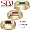 Men's 14K Yellow Gold Gemstone And Diamond Ring - Choice of Emerald, Ruby or Sapphire Gemstone