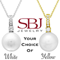 """Women's 14K Gold Pearl Pendant Necklace W/16"""" Chain - Choice of White or Yellow Gold"""