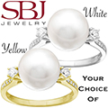 Women's 14K Gold Pearl And Diamond Ring - Choice of White or Yellow Gold