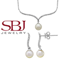 "Women's 14K White Gold Pearl Necklace on 16"" Length Chain Bundled with Matching Earrings"