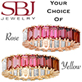 Women's 14K Gold Pink Gemstone Ombre Ring - Choice of Rose or Yellow Gold