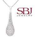 """Women's 14K Gold Diamond Tear Drop Pendant Necklace with 16"""" Length Chain in White Gold"""