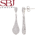 Women's 14K White Gold Diamond Tear Drop Earrings