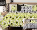 Full Circle Green Studio Print Reversible Collection 6-Piece King Bedding Set