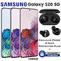 Samsung 128GB Galaxy S20 5G *UNLOCKED* & 2Yr Protection Plan + Accidental Damage Bundled W/Ear Buds+