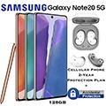Samsung 128GB GalaxyNote20 5G *UNLOCKED* & 2Yr Protection Plan+Accidental Damage Bundled W/Buds Live