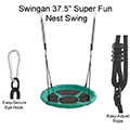 Swingan 37.5� Super Fun Nest Swing With Adjustable Ropes & Solid Fabric Seat Design