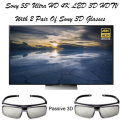 "Sony 55"" Ultra HD 4K LED HDR 3D Smart HDTV & 2 Pair of 3D Glasses"