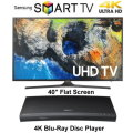 "Samsung 40"" Black UHD 4K HDR LED Smart HDTV With 4K BluRay Disc Player- Available In Black Finish"