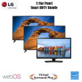 "LG 3-TV Flat Panel LED (24"", 32"", 49"") Smart HDTV Bundle Featuring One TV For Each Room In Your Home"