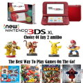 Nintendo New 3DS XL Red Handheld Gaming System With 4-Games & Your Choice Of 2-Amiibo's