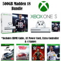 Microsoft Xbox One S 500GB Madden 18 Bundle, Extra Controller, 4 Games & More