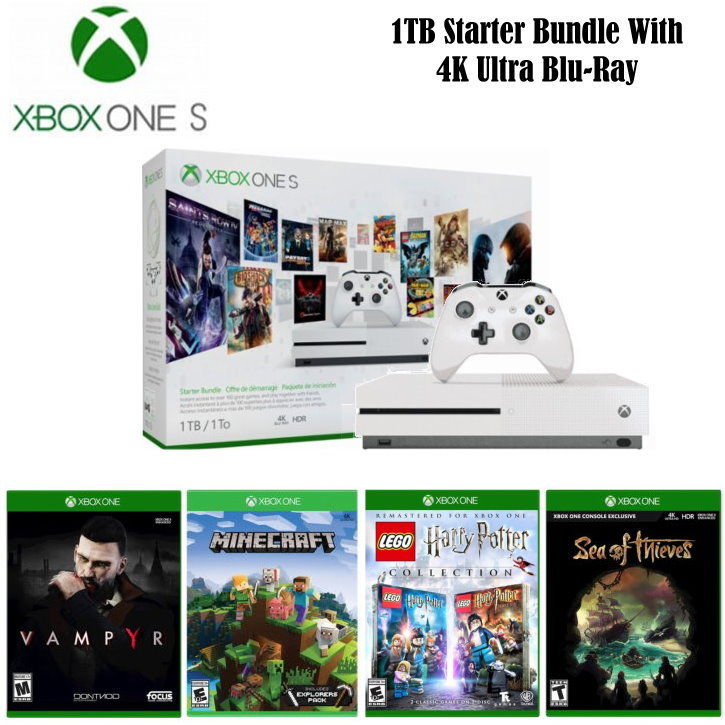Xbox One S 1TB Starter Bundle With 4K Ultra Blu-ray w/ Wireless