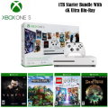 Xbox One S 1TB Starter Bundle With 4K Ultra Blu-ray w/ Wireless Controller, 4 Games and More