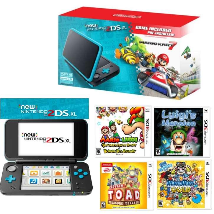NEW* Nintendo 2DS XL Mario Kart 7 Gaming Bundle in Black